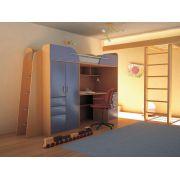 Детская мебель Орбита-4, бук/синий, спальное место  80*200
