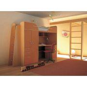 Детская кровать чердак Орбита-4, бук/оранжевый, спальное место 80*200