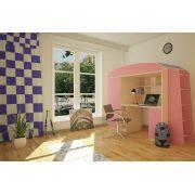 Кровать - чердак Орбита - 8 (корпус дуб кремона/фасад розовый)