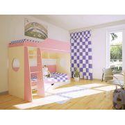 Двухъярусная кровать Орбита-5 (корпус дуб кремона / фасад розовый)
