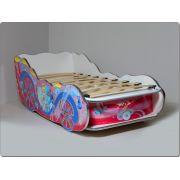 Кровать машина для девочек Принцесса Люкс с ортопедической решеткой