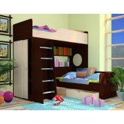 Кровать-чердак Орбита 11/1 + нижняя кровать Орбита 11/4(корпус венге /фасад дуб кремона) спальное место 190*80