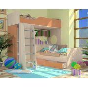 Кровать-чердак Орбита 11/1 + нижняя кровать Орбита 11/3 (корпус дуб кремона/фасад оранжевый) спальное место 190*80