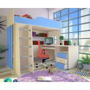 Кровать-чердак Орбита 11/1 + стол Орбита 11/2 (корпус дуб кремона /фасад синий) спальное место 190*80