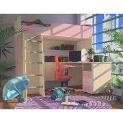 Кровать-чердак Орбита 11/1 + стол Орбита 11/2 (корпус дуб кремона /фасад розовый) спальное место 190*80