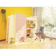 Кровать чердак Орбита-4 дуб кремона/розовый матрац 80*200