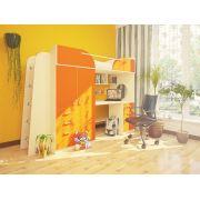 Кровать чердак Орбита-4 дуб кремона/оранжевый матрац 80*200