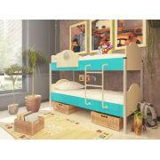 Двухъярусная кровать Орбита-12 (корпус дуб кремона / фасад голубой)