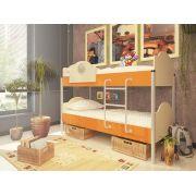 Двухъярусная кровать Орбита-12 (корпус дуб кремона / фасад оранжевый)