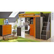 Орбита 1Л кровать-чердак (лестница с дополнительной зоной хранения)(корпус венге/фасад оранжевый)