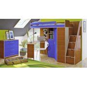 Кровать чердак Орбита 1Л +лестница с выдвижными ящиками (корпус ольха/фасад синий)