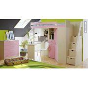 Кровать чердак Орбита 1Л с тумбой ступенчатой (корпус дуб кремона/фасад розовый)