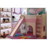 Кровать для девочек с горкой Орбита 20 (дуб кремона/розовый)