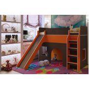 Кровать детская с горкой Орбита 20 (венге/оранжевый)