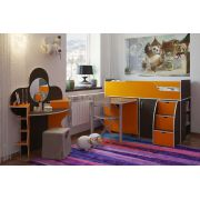 Кровать чердак Орбита 19 венге/оранж