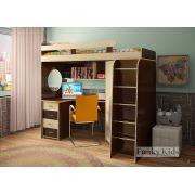 Детская кровать-чердак Фанки Кидз 3 с рабочей зоной