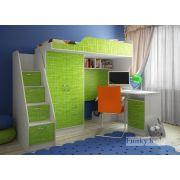 Детская кровать-чердак Фанки Кидз 4/1 + тумба-лестница 13/8 СВ + стол письменный 13/1 СВ