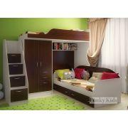 Детская кровать-чердак Фанки Кидз 4/1 + тумба-лестница 13/8 СВ + кровать нижняя 13/7 СВ