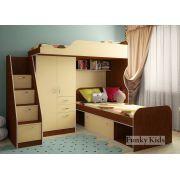 Детская кровать-чердак Фанки Кидз 4/1 + тумба-лестница 13/8 СВ + кровать нижняя 13/13 СВ