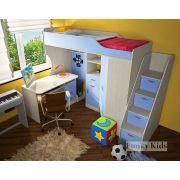 Детская кровать-чердак Фанки Кидз 7/1 + тумба-лестница 13/8СВ + письменный стол 13/1СВ