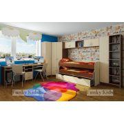 Детская комната из модулей СВ: двухъярусная кровать Фанки 8+стол 13/51+пенал 13/10+шкаф 13/15+мост надкроватный 13/50+стеллаж 13/4