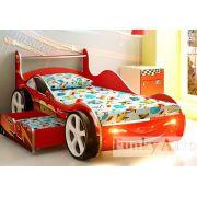 Детская кровать-машина Молния Фанки с выдвижным ящиком