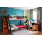 Детская металлическая кровать Фанки Лофт-2 + тумба-лестница 13/8СВ + письменный стол 13/1СВ