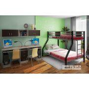 Металлическая двухъярусная кровать Фанки Лофт-2 + мост 13/50СВ + письменный стол 13/51СВ