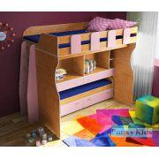 Двухъярусная кровать для девочек с рабочей зоной Фанки Кидз 19 + лестница 13/57СВ