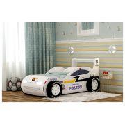 Кровать для детей Молния-Полиция с объемными колесами