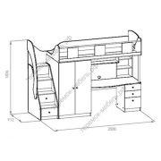 Схема кровать-чердака с рабочей зоной Таймаут и Пикник