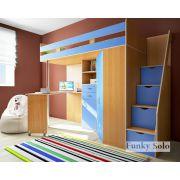 Детская кровать Фанки Соло-1 с тумбой-лестницей - Бук/Голубой