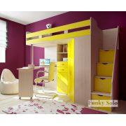 Кровать-чердак Фанки Соло-1 с лестницей-комодом - Дуб кремона/Желтый