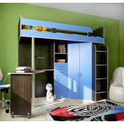 Кровать-чердак Фанки Соло-2 для детей - Венге/Голубой