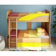 Детская двухъярусная кровать Фанки Соло 4 - Бук/Желтый