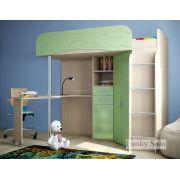 Кровать детская с рабочей зоной Фанки Соло 3 - Дуб кремона/Салатовый