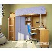 Детская кровать с рабочей зоной Фанки Соло 3 - Бук/Голубой