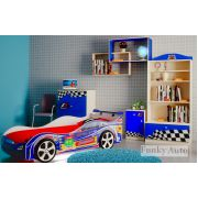 Кровать-машина Турбо Оптима Синий + детская мебель Фанки Авто