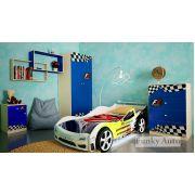 Кровать-машина Сигма 3D + комплект детской мебели Фанки Авто
