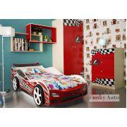 Объемная кровать-машина Дельта Оптима + комплект мебели Фанки Авто