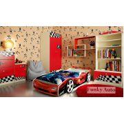 Детская кровать-машина Формула 3D + комплект мебели Фанки Авто