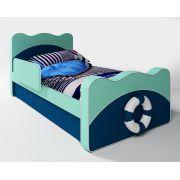 Кровать с бортиком и выдвижным ящиком для детей Капитан
