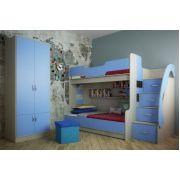 Двухъярусная кровать Фанки Кидз-21 (с 3-им сп. местом) + модули СВ: двухдверный шкаф 13/2 СВ + пуф Фанки ПФ1