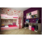 Двухъярусная кровать Фанки Кидз-21 (с 3-им сп. местом) + модули СВ: мост подвесной 13/55СВ + стол для двоих детей 13/51СВ
