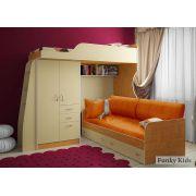 Кровать-чердак Фанки Кидз 4/1 + нижняя кровать 13/7СВ + комплект подушек (5 шт.) и наматрасник