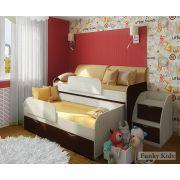 Кровать для двоих детей Фанки Кидз 8 + комплект подушек и покрывало.