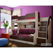 Кровать для троих детей Фанки Кидз 21 + комплект подушек и наматрасник