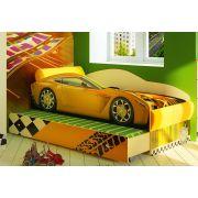 Кровать-машина Тесла на подиуме с дополнительным спальным местом.