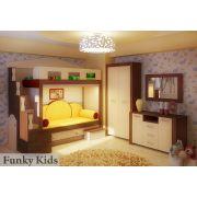 Двухъярусная кровать Фанки Хоум арт-11002 + ФТ-05 двудверный шкаф + ФТ-01 комод Фанки Тайм