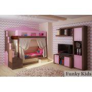 Детская мебель Фанки Хоум кровать-чердак артикул 11002 + ФТ-07 тумба под тв + ФТ-13 полка + ФТ-04 пенал Фанки Тайм